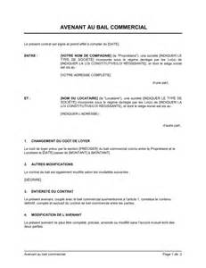 modele avenant bail commercial loyer document