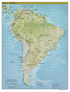 large detailed relief and political map of south america