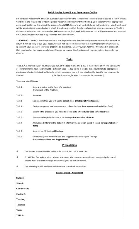 11th Grade Essay Topics by School Based Assessment Outline Grade 11