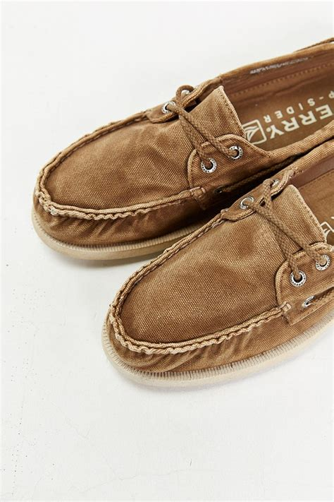 Sperry Top Sider Canvas lyst sperry top sider authentic original 2 eye washed
