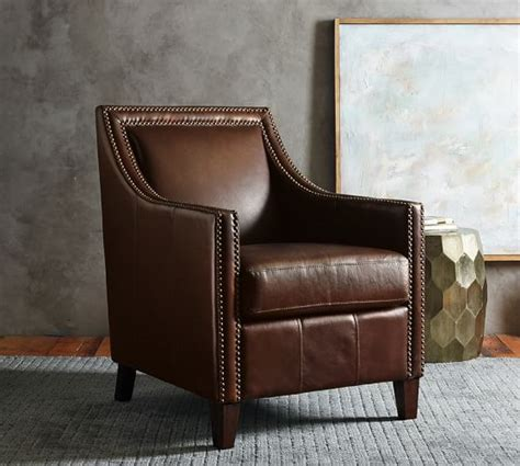 pottery barn leather armchair everly leather armchair pottery barn