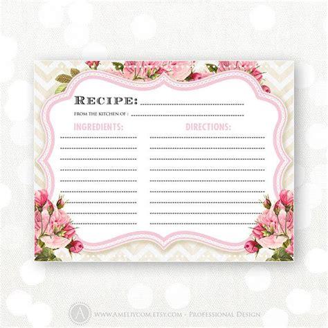bridal shower recipe cards diy recipe cards printable bridal shower pink flowers chevron instant diy kitchen