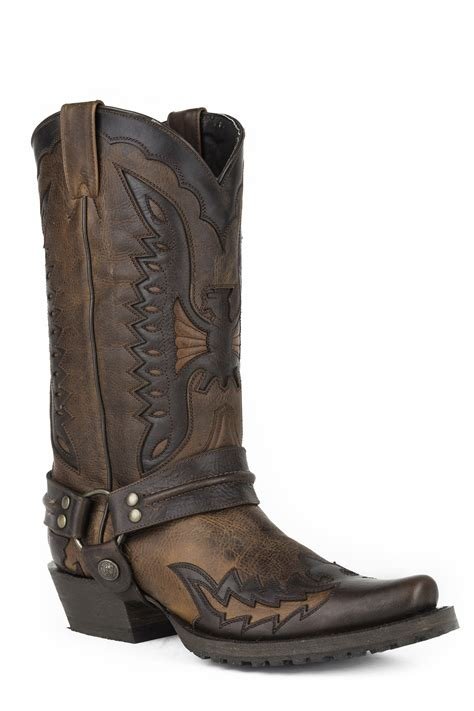 stetson mens cowboy boots stetson s eagle wingtip harness cowboy boots brown