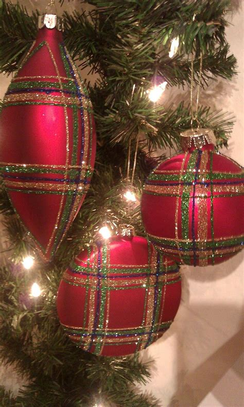 red plaid ornaments holidays pinterest