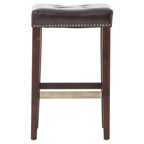 leather counter stools milton espresso brown leather tufted counter stool kathy