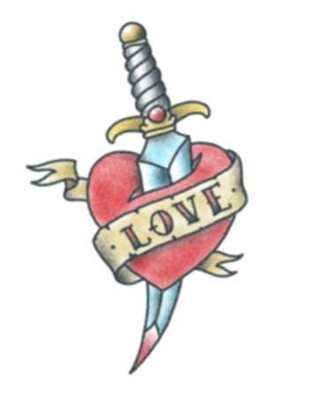 love heart with daggertattooednow ltd temporary