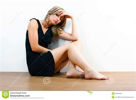 depressed sitting on floor royalty free stock