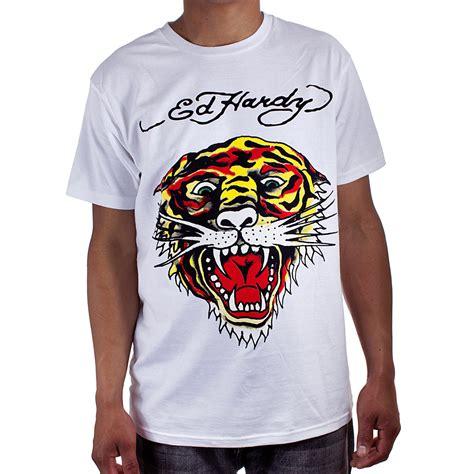 Tshirt White Tiger ed hardy white mens tiger graphic shirt ebay