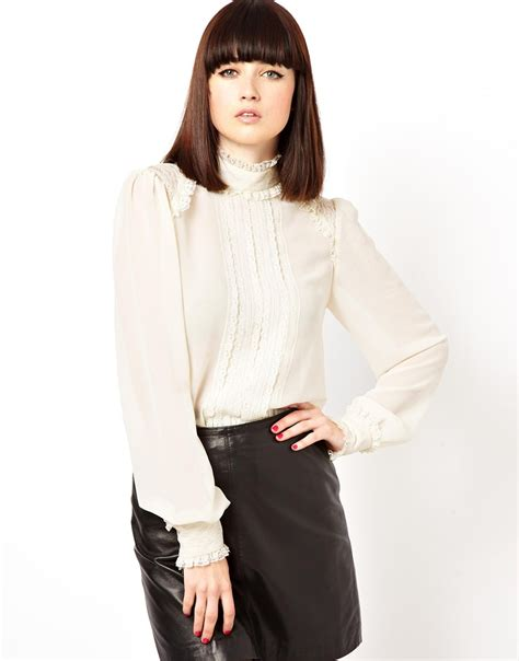 High Neck Blouse In by Lyst Asos Blouse With High Neck And Insert Lace Ruffle