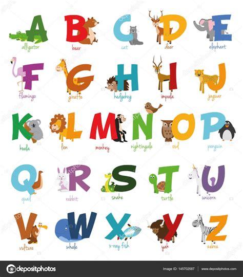 imagenes en ingles del alfabeto alfabeto de zoo ilustrado de dibujos animados lindo con