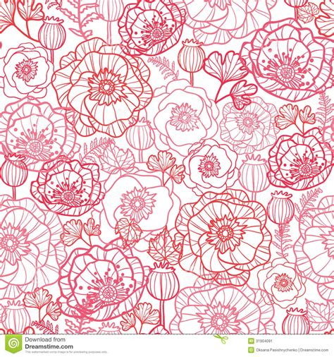 floral pattern artwork poppy flowers line art seamless pattern background stock