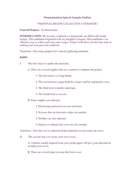demonstration speech outline template best photos of presentation outline sle