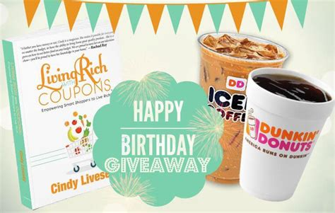 Dunkin Donuts Gift Card Number - birthday giveaway 50 dunkin donuts gift card 7 winnersliving rich with coupons 174