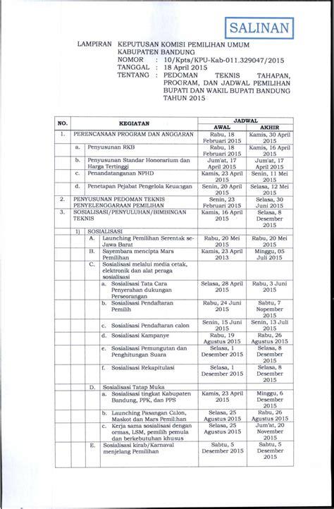 Sk Ii Bandung ppk paseh tahapan dan jadwal pilkada kab bandung tahun 2015