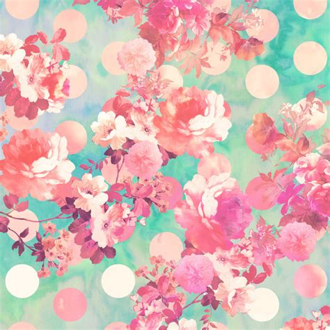 girly print wallpaper romantic pink retro floral pattern teal polka dots art