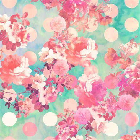 pink pattern girly romantic pink retro floral pattern teal polka dots art