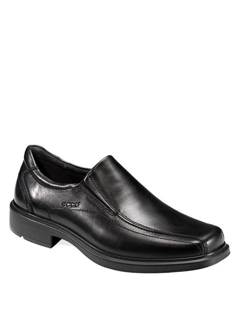 black slip on loafers ecco black helsinki slip on leather loafers for lyst