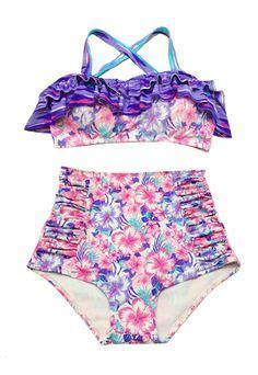 Carvil Panera L Black Pink pink purple flora top and high waisted waist shorts bottom