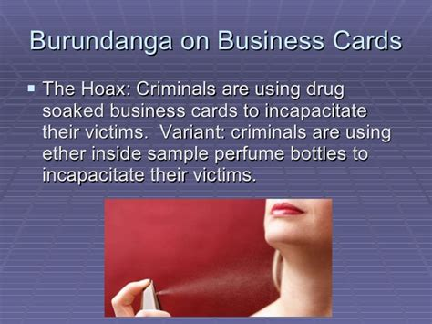Burundanga Business Card scams fraud and hoaxes
