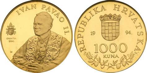 cuna values coin values 1000 kuna 1994 croatia gold pope john paul ii