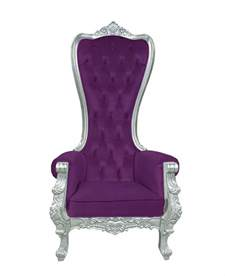 baroque throne chair high back chair purple and silver
