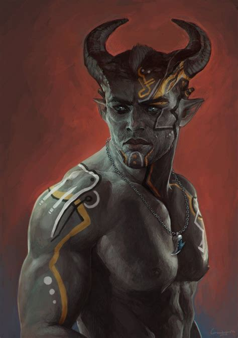 qunari tattoo dragon age inquisition adaar qunari inquisitor from dragon age inquisition by