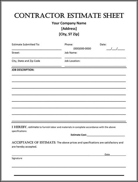 estimate form template 44 free estimate template forms construction repair
