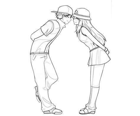 cute anime couple kissing coloring pages pictures to pin