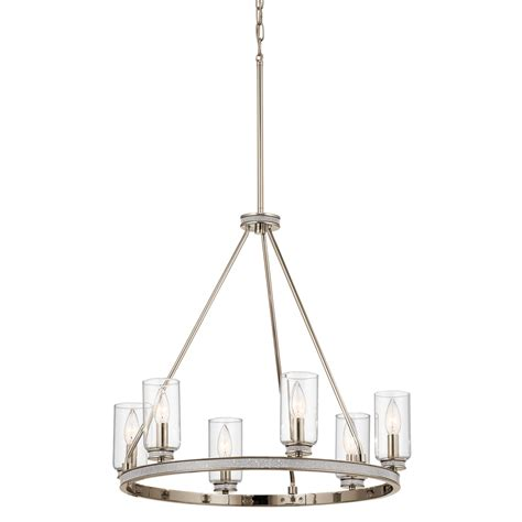 Glass Bulb Chandelier Shop Kichler 24 In 6 Light Polished Nickel With Glass Accents Vintage Clear Glass