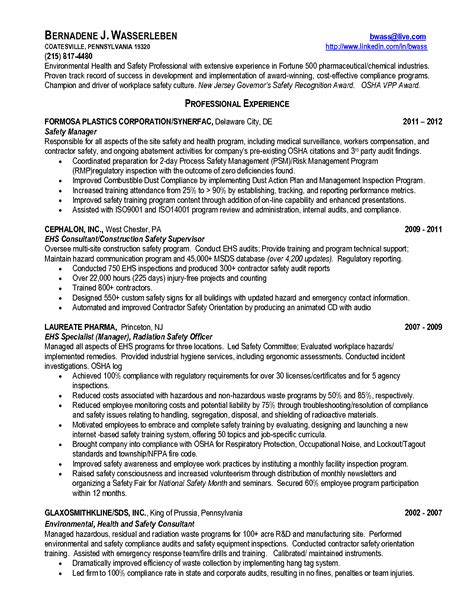 Occupational Safety Resume by Occupational Health And Safety Resume Exles Resume Ideas