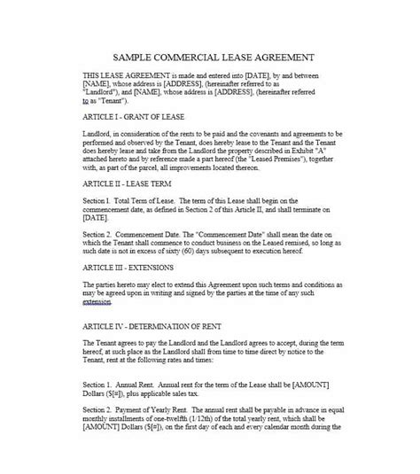 Free Commercial Lease Purchase Agreement Template 26 Free Commercial Lease Agreement Templates Template Lab