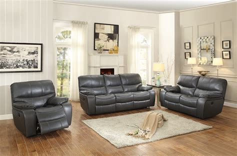 grey leather reclining sofa set homelegance pecos power reclining sofa set leather gel