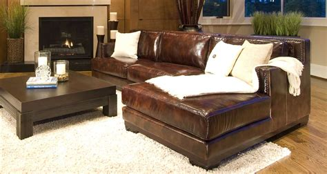 saddle leather sectional elements home furnishings davis top grain leather