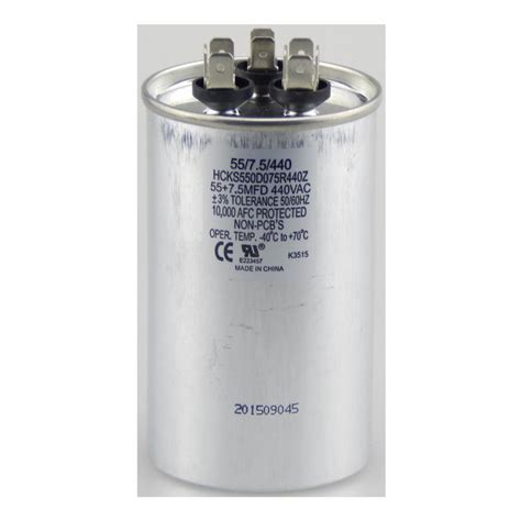 run capacitor specifications tradepro 440 volt 55 7 5 mfd dual motor run capacitor tpr5575440 the home depot