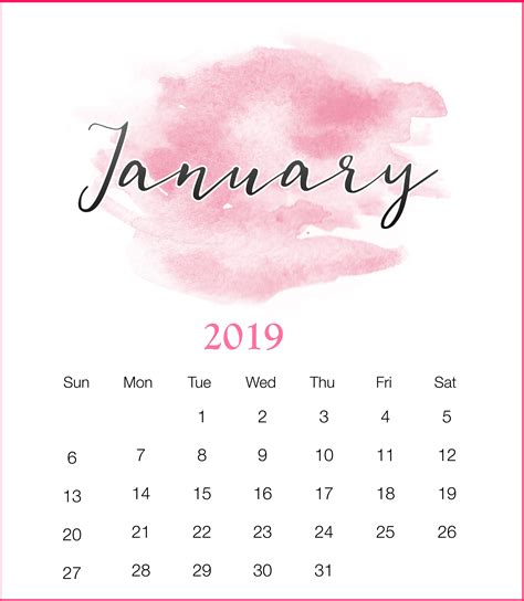 january  calendar cute blank printable template  holidays
