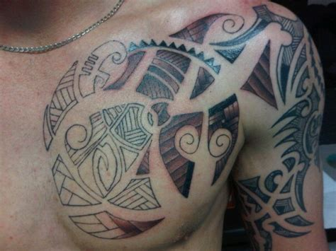 half chest tribal tattoo half chest images