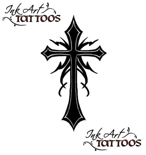 gothic cross tattoos black ink cross design