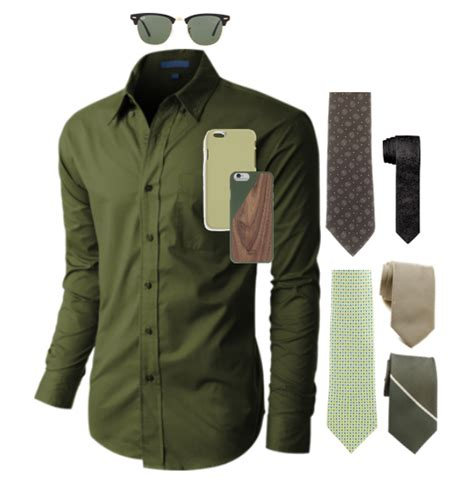 what colors go with olive green what color tie and suit would look with a olive green