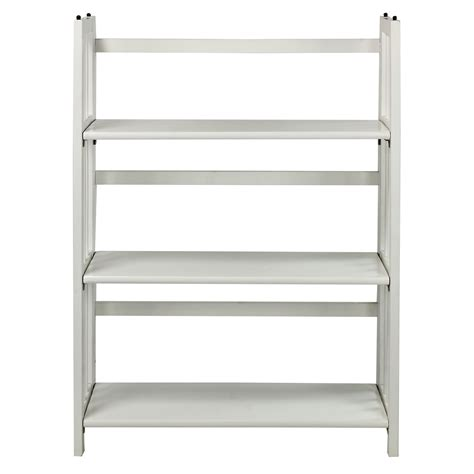 Casual Home 3 Shelf Folding Stackable Bookcase White White 3 Shelf White Bookcase