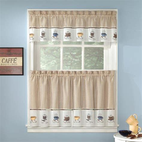 embroidered coffee java espresso kitchen curtains choice tiers or valance ebay