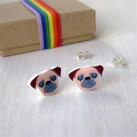 pug stud earrings pug stud illustrated acrylic earrings by hoobynoo notonthehighstreet