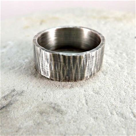 Bark Design Wedding Ring by Hammered Silver Ring Tree Bark Ring From Crazyass Jewelry