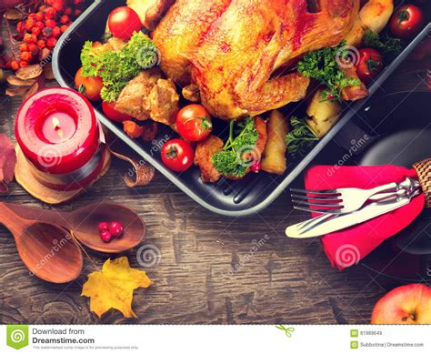 thanksgiving table with turkey thanksgiving dinner table served with turkey stock photo