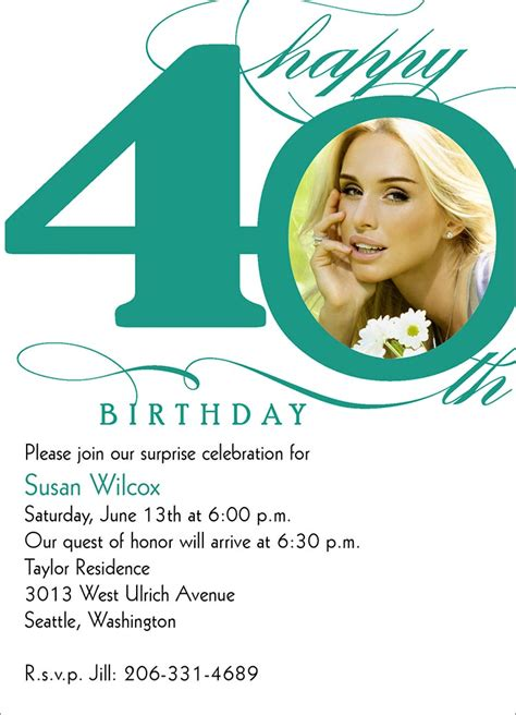 40th birthday invitation card 40th birthday invitation wording bagvania free printable