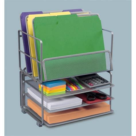 Office Desk Organisers Seville Classics Office Desk Organizer Platinum Mesh 6 Trays Home Kitchen
