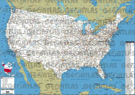 map of roads in usa geoatlas united states canada united states of america