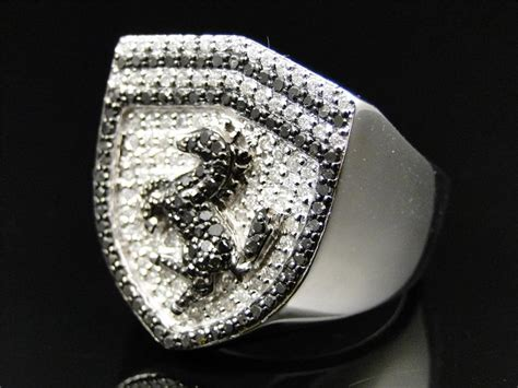 golden ferrari with diamonds mens white gold finish custom ferrari car logo white black