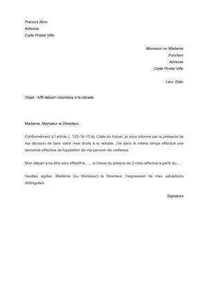 lettre de demission retraite carriere longue modele lettre pour un depart en retraite document