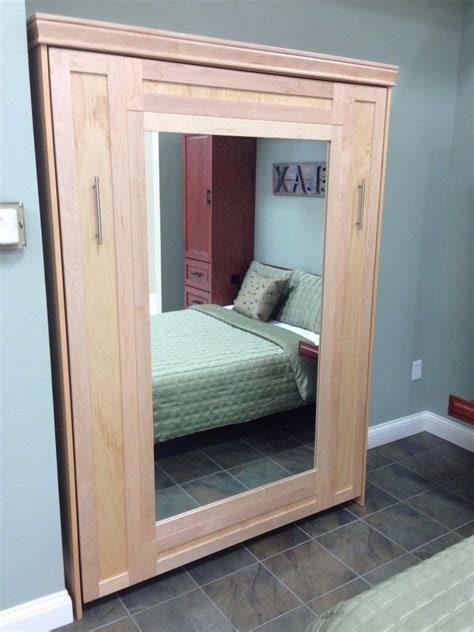 real wood murphy bed with mirror front ebay
