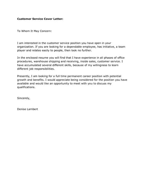 Exle Cover Letter For Customer Service by Cover Letters For Customer Service Position Vntask